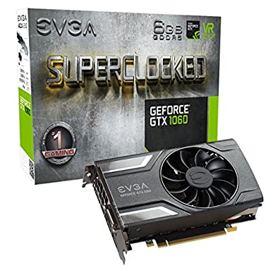 EVGA GeForce GTX 1060 SC GAMING, ACX 2.0 (Single Fan), 6GB GDDR5, DX12 OSD Support (PXOC), 06G-P4-6163-KR