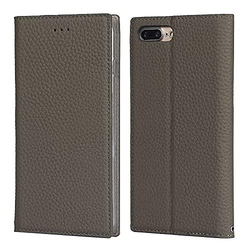 SailorTech - Custodia a portafoglio per iPhone 7 Plus/8 Plus, in vera pelle, con scomparti per carte di credito, chiusura magnetica, supporto per cavalletto grigio