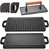 """Cast Iron Griddle with Accessories Includes Reversible Cast Iron Griddle/Grill (20"""" x 9-1/2""""),..."""
