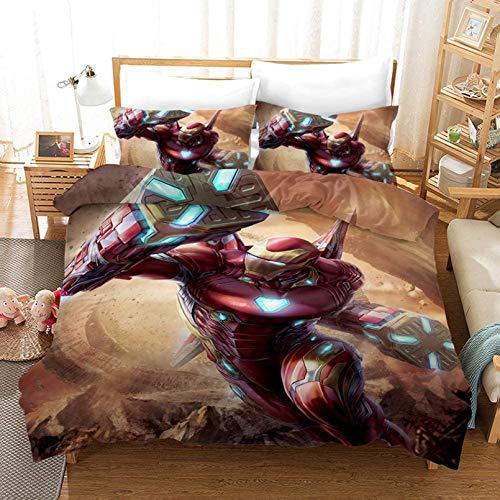 Bettbezug-Set, 3D-Druck, Avengers Muster, Superheld, Amerika, Iron-Man, beste Geschenke für Filmfreunde, 100 % Mikrofaser, für Kinder, Cartoon, F,135 x 200 cm