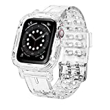 Jiunai compatible with Apple Watch Bands 38mm 40mm Transparent Clear Rugged Bumper Sports Crystal Soft Bumper iWatch Band Strap Protective Case Designed for Apple Watch Series 6 5 4 3 2 SE 38mm 40mm