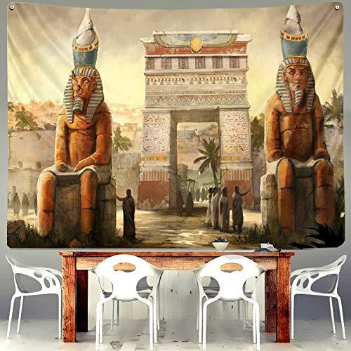 KHKJ Egipto Fresco Ian Tapiz Espiritual pirámide faraón Retro para Dormitorio casa Sala de Estar decoración Colgante Arte Pared Tela A10 200x150cm