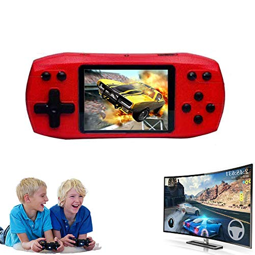 DUEEA Handheld Game Console for Kids Adults, Built-in 620 Retro Video Games and Support TF Card Download Save Game Progress Rechargeable 3.5 Inches HD Screen Birthday Xmas Gift (Red)