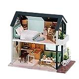 Aional Wisdom Fun House Diy Cottage Only Nordic Duplex Montado Villa Modelo Madera Muñeca Casa Creativa Día de la Niña Regalo
