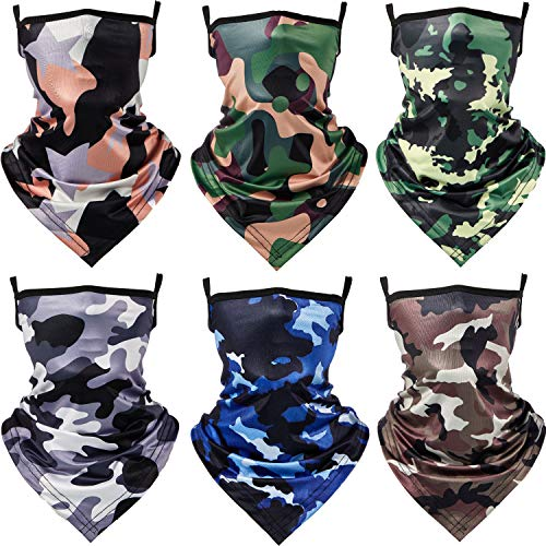 6 Pieces Kids Neck Gaiters with Ear Loops Breathable Kids Face Bandana Kids Scarf Bandanas Dust Wind Balaclava for Boys Girls (Camouflage Pink, Camouflage Coffee)