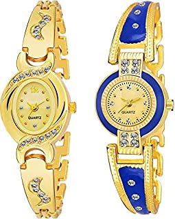 FLORONA Luxury Bangle Gold Color Watch Combo of 2 for Women & Girls