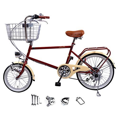 Bicicletas cómodas Bicicletas para Damas de 20 Pulgadas y 6 velocidades con cestas Bicicletas Ligeras para Adultos Las Bicicletas urbanas Retro Pueden Transportar Mascotas Marco de Acero con Alto