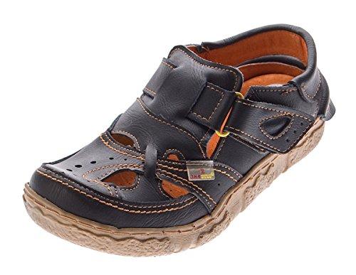 TMA Leder Damen Sandalen Echtleder Schwarz Comfort Sandaletten 7088 Halb Schuhe Gr. 36