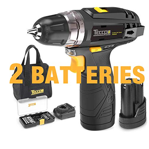 Cordless Drill, TECCPO 12V MAX Drill, Compact Drill set with 2Pcs 2000mAh Batteries, 2-Speed, 20+1 Torque Setting, Fast Charger, 265In-lbs Torque, 3/8
