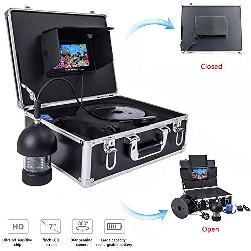Onderwater Visserij Camera, Draagbare 7 Inch LCD Monitor HD 1000TVL Waterdichte Vis Finder met 8 Stks Leds En 360° Roterende Camera - 50M Kabel