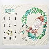 Monatliche Decke Babydecke Meilenstein Decke Flanelldecke Monat Druckmuster Hintergrund fr Neugeborene Baby Fotografie (Kaninchen)