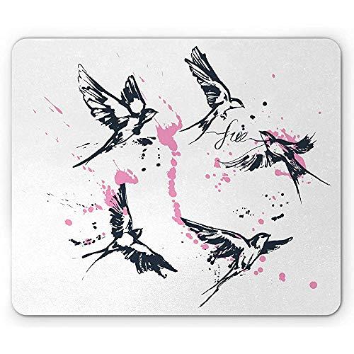 Gratis muismat, creatief van vogels en kalligrafie met verf blots en streken, anti-slip rubber, 25x30cm donker nacht blauw roze