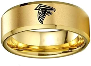 FlyStarJewelry Gold Color Titanium Steel Atlanta Falcons Ring Football Men Sport Band Size 6-13