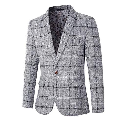 Men's Casual One Button Regular Fit Blazer Suit Jacket (603 Grey, M)