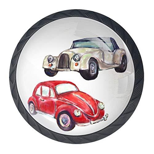 Shiiny Tirador de cajón de coche, estilo vintage, con forma de círculo, de cristal, con tornillos, para el hogar, oficina, armario, armario, juego de 4