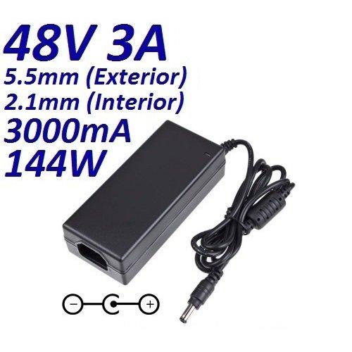 CARGADOR ESP ® Cargador Corriente 48V 3A 3000mA 5.5mm 2.1mm 144W CCTV Video Vigilancia Camara Sistemas de Seguridad LED Acuario