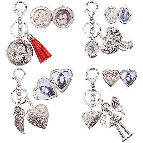 SUNNYCLUE DIY 4PCS Round Oval Heart Photo Picture Engraved Locket Keychain Keyring with Lobster Claw Clasp and Rings Jewelry Making Arts Crafts Kit Silver