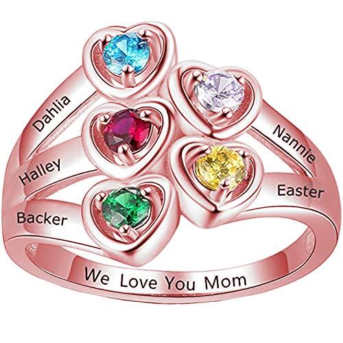 Yanday Anillo con Nombre Personalizado para Mujer Anillo Familiar Personalizado con 5 Nombres y Piedra de Nacimiento Grabados para mamá(Oro Rosa 15.75)
