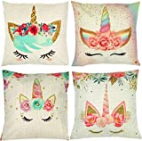 ZUEXT Set of 4 Unicorn Decorative Throw Pillow Covers 16 x 16 Inch, Colorful Pink Wavy Hair Unicorn in Garland Cotton Linen Cushion Cover Square Pillow Cases for Girls Women Kids Car Sofa Home Decor