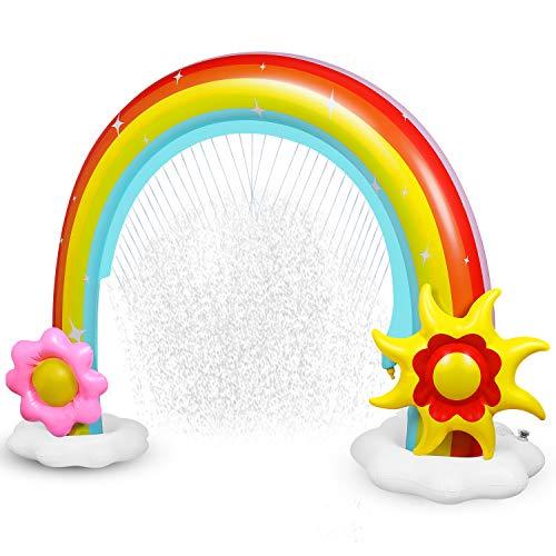 Anpro Regenbogen Bogen Sprinkler, Riesiger Wasserspiel Sprinkler, Sommer Garten Splash Wasserspielzeug für Baby, Kinder, Hund und Haustiere