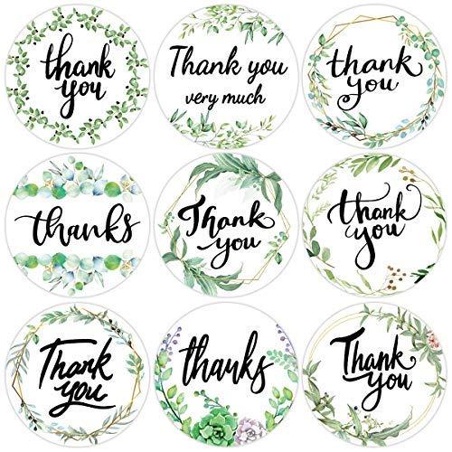500 pegatinas de agradecimiento de Greenery en rollo perforado, etiquetas adhesivas de 3,8 cm, 9 diseños para el hogar, cocina, cumpleaños, bodas, negocios