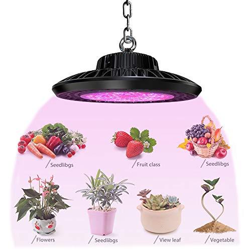 LYDQ 160W UFO LED Pflanzenlampe UV Glühbirne IP65 Wasserdicht Vollspektrum Wachstumslampe Pflanzen 120° Strahl Ausbreitung Für Zimmerpflanzen Hydroponische, Blumen, Gemüse(210Pcs 3030 SMD)