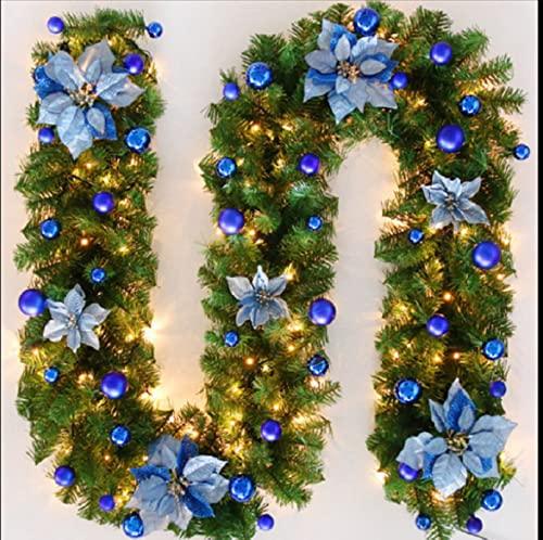 Guirnalda de Navidad LED de 2,7 m, color verde, guirnalda artificial con 230 ramas para decoración de interiores, chimenea, escaleras, pared, puerta y exterior