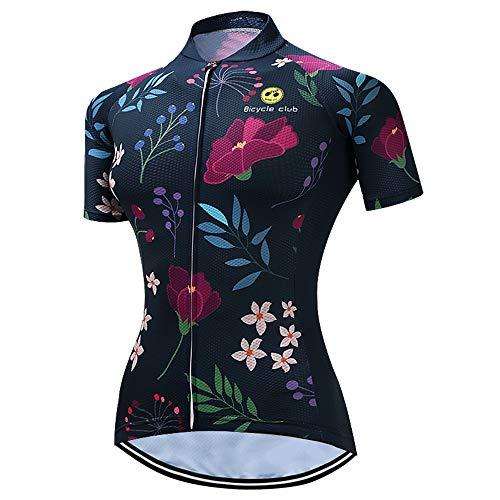 Maglia da mountain bike da donna, in jersey da ciclismo, comoda e ad asciugatura rapida - multicolore - petto 80/86 cm = etichetta M