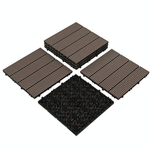 "PANDAHOME 6 PCS Wood Plastic Composites Patio Deck Tiles, 12""x12"" Interlocking Decking Tiles, Water Resistant for Indoor & Outdoor, 6 sq. ft - Mocha"