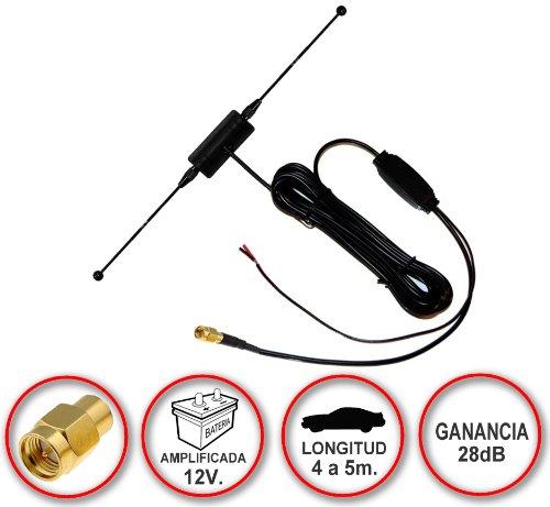 Antena de TDT (televisión digital terrestre) amplificada a 12V con conector SMA...