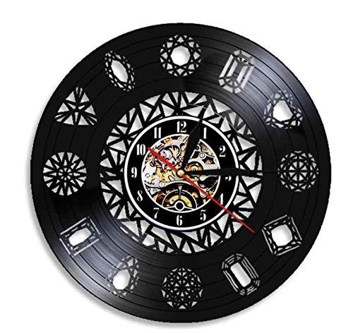 sufengshop Joyería Tienda Diamante Arte de la Pared Reloj de Pared Piedras Preciosas de Cristal Piedras Rocas Racimos de Cristal Naturaleza Arte Diamante Vinilo Disco Reloj de Pared 30 cm