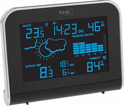 TFA Dostmann SPHERE, 35.1148.01.IT Funk-Wetterstation mit \'Color Sharp\' Farbwechsel-Display mit Außensender, Schwarz, L160 x B87 x H165 mm