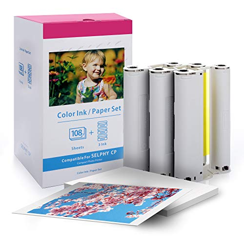 Canon Selphy CP1200 CP910 Carta Fotografica KP-108IN 3115B001 (AA) compatibile con la stampante Canon Selphy, 108 fogli di carta per stampante (10x15 cm) con 3 cartucce di inchiostro