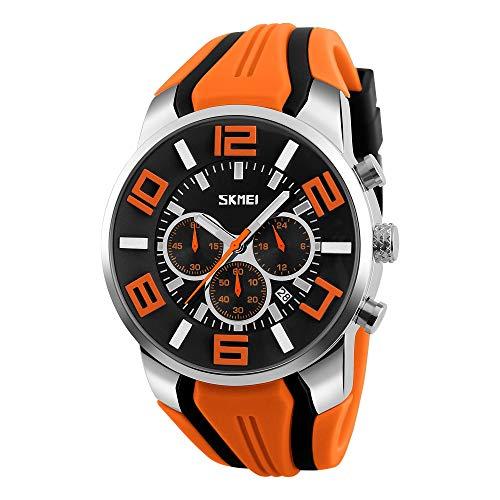 FeiWen Fashion Casual Herren Analog Quarz Uhren Edelstahl Wählscheiben mit Kautschuk Band Armbanduhren Stoppuhr Kalender Sportuhr (Orange)