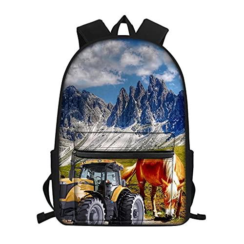 Modello 3D di cavallo e trattore ranch zaino scuola,Borsa scuola ragazza ragazzo Girl,zaini scuola elementare bambini,zainetto donna