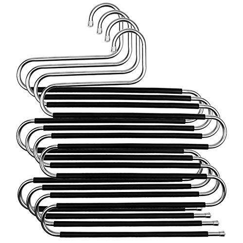 Natuce Hosenbügel 4 Stück Hosen Kleiderbügel aus Metall Edelstahl Platzsparend Mehrfach S-Typ-Hosenständer rutschfeste für Kleiderschrank Schals Jeans Kleidung Hosen Handtücher