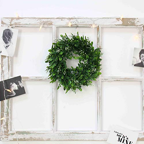 LaHomey 10-Inch Boxwood Wreath, Green Garland for Home Wedding Decoration