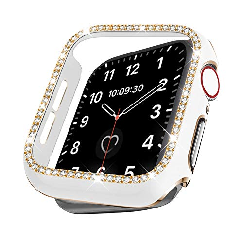 VATI Bling Case Compatible with Apple Watch Case 44mm Series SE 6 5 4, Stylish Women Girls Lightweight Crystal Rhinestone Hard PC Shockproof Bumper Protective Case Covers for iWatch 44MM (White/Gold)