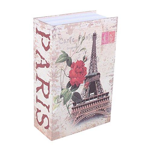 Caja Fuerte Libro, Haofy Cajas Seguridad en Forma de Libro, Caja Almacenamiento Pequeña para Poner Joyas, Monedas, Dinero, Objetos de Valor (Paris Tower)