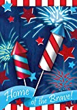 Toland Home Garden Home Of The Brave 28 x 40 Inch Decorative Patriotic Summer July 4 Firework USA House Flag