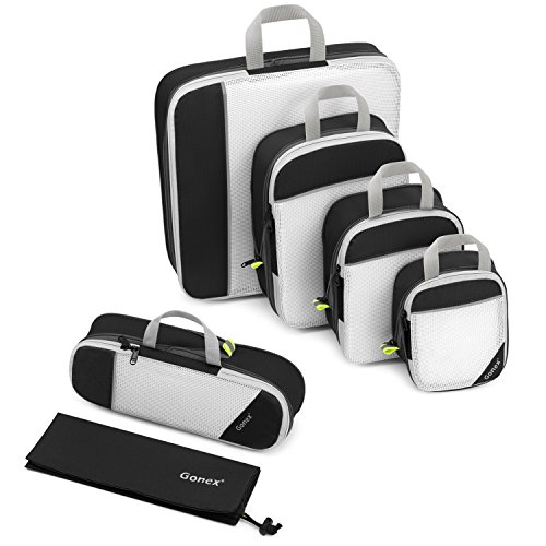 Compression Packing Cube 6-teilig, Gonex robust & langlebig | Verpackungswürfel, Packtaschen, Kleidertasche, Koffer-Organizer, Aufbewahrungstasche - Schwarz