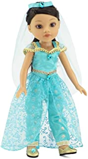 Emily Rose 14 Inch Doll Clothes | 4 Piece Jeweled Princess Jasmine Inspired Outfit, Including Shoes! | Perfect Halloween C...