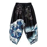 Japanese Kimono Pants Women Men Samurai Black Harem Pants Loose Elastic Waist Trousers 134-Black M