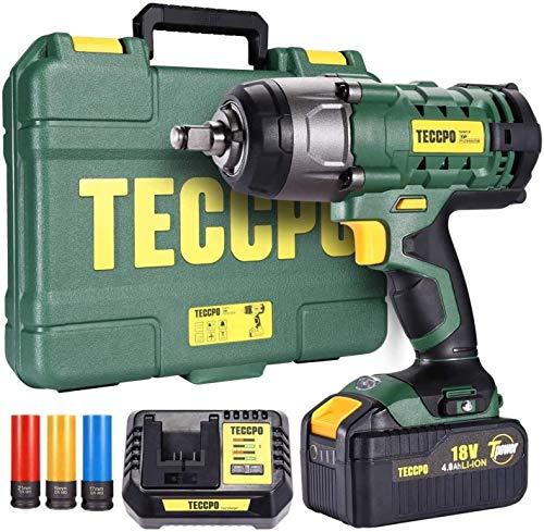 Boulonneuse a Choc, TECCPO 350Nm Clé à chocs sans fil avec 4.0Ah Batterie, 1H de charge rapide, 3 Douilles à Chocs pour Jantes Aluminium-17, 19, 21mm, 13mm Mandrin, Boulons de Roue, Boîte Compacte