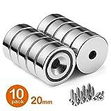 BTLIN Neodym Magnete mit Loch, Topfmagnet Nyodym Magnete mit Senkkopf und Schrauben 22LB Haftkraft,...