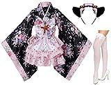 Japanese anime lolita cherry sakura flower printing kimono costumes fancy dress maid cat headband socks set(DHF001)Pink L