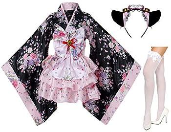 Japanese Anime Lolita Cherry Sakura Flower Printing Kimono Costumes Fancy Dress Maid cat Headband Socks Set DHF001  Pink L