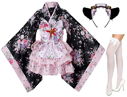 Japanese Anime Lolita Cherry Sakura Flower Printing Kimono Costumes Fancy Dress Maid cat Headband Socks Set(DHF001) Pink L