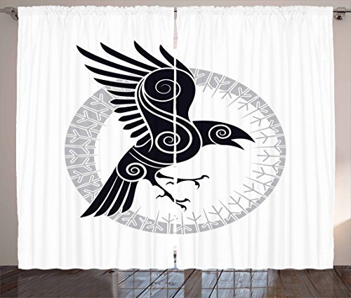 Printawe Raven Curtains, Bird Abstract Celtic Style Inside Runic Circle Design, Living Room Bedroom Window Drapes 2 Panel Set, 108' X 63', Pale Grey White
