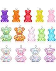 28 Pcs Resin Candy Gummy Bear Pendant, KISSBUTY 14 Colors Mixed Bear Candy Charms Shining Cartoon Bear Keychain Pendants Necklace Resin Bear Charm for DIY Jewelry Making Crafting